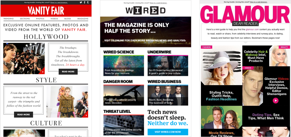 Email Designs for Vanity Fair, Wired, Glamour