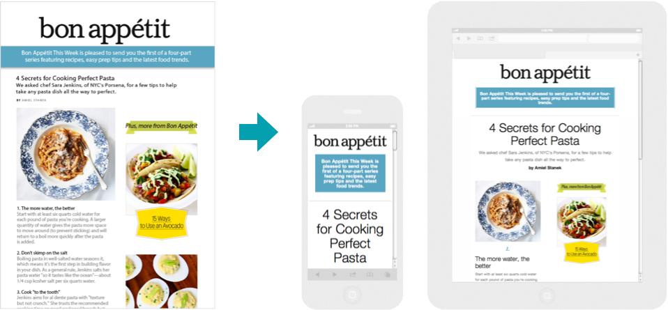 Email Prototype for Bon Appetit