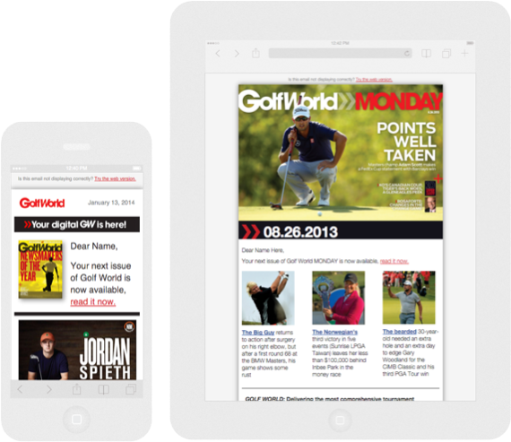 Coded Emails for GolfWorld